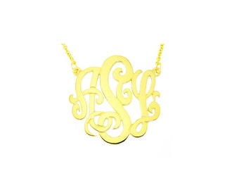 "14YMono150 - 14K Yellow Gold 1.5"" Monogram Necklace (0.4mm)"