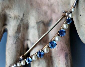 Sapphire Pearl 14k Gold Crescent Moon Pin Art Deco