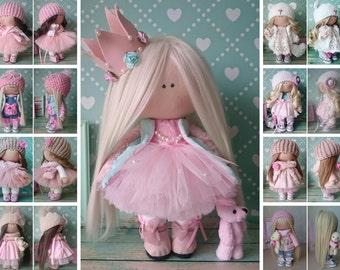 Princess doll Handmade doll Nursery doll Tilda doll Fabric doll Pink doll Cloth doll Baby doll Rag doll Interior doll Textile doll by Elvira