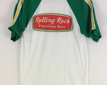 Vintage 80s Rolling Rock Premium Beer T shirt Size Medium Made in USA