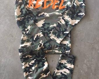 Rebel Kids Pajama/Base Layer Set Camo