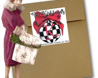 Christmas Ornament, Preppy Christmas Ornament Address Labels, Preppy Christmas Stickers