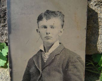 Tintype Photo - Interesting Looking Young Man