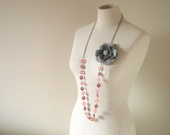 Thalia Wool Felted Flower long Necklace - 2 Ways to wear it - Grey and Pink