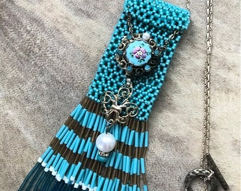 Turqoiuse Blue Amulet Bag Necklace