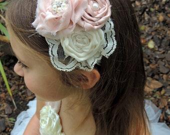 Blush Vintage Headband, Blush flower headband, Baby Headband