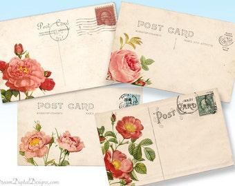 Printable Rose Vintage Postcards, Floral Digital Collage Sheet, Background Download