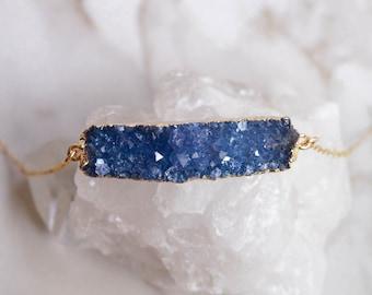 Blue Druzy Bar Necklace, Raw Stone Necklace, Quartz Druzy Necklace, Raw Crystal Necklace, Bohemian Style, Boho Necklace, Bar Necklace
