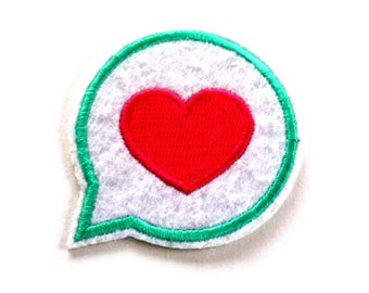 Embroidered Pink Heart Iron on Patch, Pink Heart in a Speech Bubble Patch, Heart Patch, Heart Appliqué
