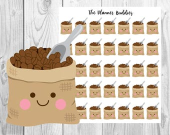 Coffee Planner Stickers, Planner Stickers, Kawaii Planner Stickers, Coffee Beans