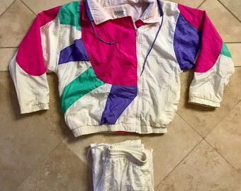 Vintage DEADSTOCK Pastel Pink and Purple Two Piece Track Suit rgRaY8