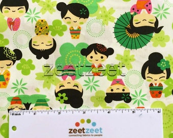 Fq Japanese GEISHA DOLLS Lime Green KOKESHI Cotton Fabric Fat Quarter Kawaii Geishas Asian Tokyo Japan Harajuku Girls Oriental China Flowers
