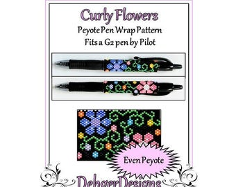 Bead Pattern Peyote(Pen Wrap/Cover)-Curly Flowers