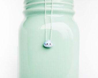 Rain Cloud Pendant Charm Necklace on .999 Pure Silver Chain