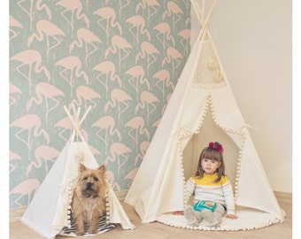 Indoor tents set for pet and kid: dog house / Dog bed / Dog teepee, pet tipi + Kids playhouse / Play room decor / Kids teepee, kids tipi
