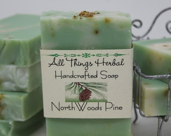 North Woods Pine Soap - Natural Handmade Soap, Balsam Pine Bar, refreshing scent
