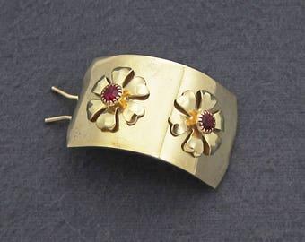 1960's vintage ponytail holder, gold tone brass metal hair barrette clip w ruby rhinestone flowers, pinch wire clasp