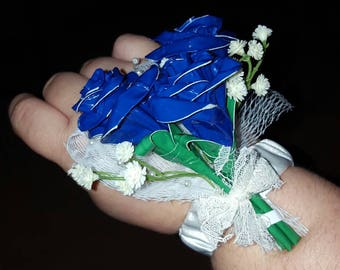 Blue Duck Tape Rose Trio Prom/Wedding Corsage Accessory Gift