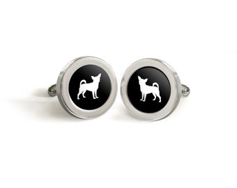 Chihuahua Cufflinks for Him - Mod Dog Custom Silhouette Tuxedo Cuff Links in your choice of color