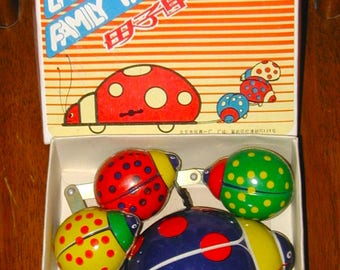 Lady Bug Parade tin wind-up toy original box vintage collectible mechanical rare now old store stock