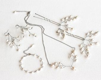429 Pearl set, Silver pearl jewellery, Wedding ivory set, Bridal white jewellery, Gentle bride, Jewellery set, Ivory pearl jewellery, Sets.