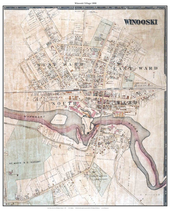 Winooski 1890 map Detailed Town Map with Homeowner Names