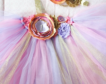 Gorgeous Beautiful Lavender Pink and Gold Satin Shabby Chic Flower Tutu Dress for Baby Girl 6-18 Months old First Birthday