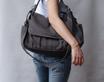 Big SALE - 30% - Messenger Bag / Pico Grey, Diaper Bag, School Bag, Shoulder Bag, crossbody bag, Handbag, Gift for Her, Women Bag
