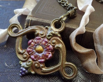 Hand Painted Pendant,  Found Object Jewelry, Antique Chandelier Drop