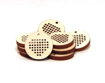 "20 PCS Petite DIY Wood Blank Jewelry Pendants Charm 3/4"" Diameter Unfinished Heart"