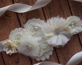 Ivory Sash , flower Belt, maternity sash, wedding sash, flower girl sash, maternity sash belt