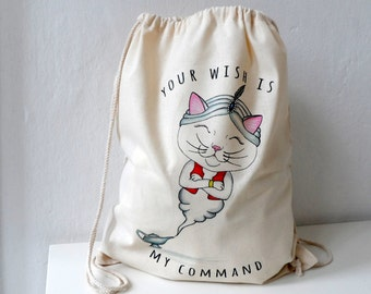 Wishmaster Cat - Cotton Backpack, Canvas Tote, Cat Tote, Cat bag, drawstring backpack, gift for cat lovers