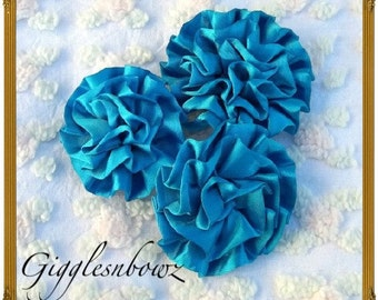Set of 3 Beautiful TURQUOISE Satin Rosettes Puff Flowers