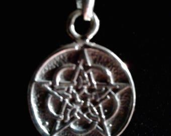 Sterling Silver Antiqued Reversible Pentagram
