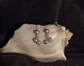 Freshwater blush 5-6 mm pearl and sterling silver drop earrings