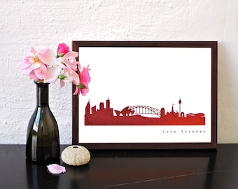 "SYDNEY ""Love Forever"" skyline Poster, for Sydney lovers, copper print Sydney, unique art work, Sydney decor, idea Housewarming, Sydney gift"