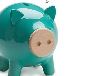 Turquoise piggy bank, ceramic piggy bank, large piggy bank, kids piggy bank, housewarming gift, home decor, Wedding gift, Kids gift,PIGZ