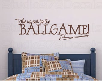 Baseball Wall Decal - Sports - Take Me Out to the Ballgame - Boys Room Decor - Vinyl Wall Decal - Wall Art  - Vinyl Lettering - 10x33