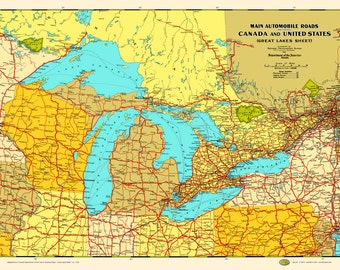 great lakes states provinces 1930 map poster vintage canada chicago milwaukee detroit duluth buffalo erie ontario