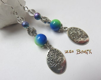 Tree of life Yggdrasil and two-tone glass beads, Tree of life, zen jewelry, zen gift earrings