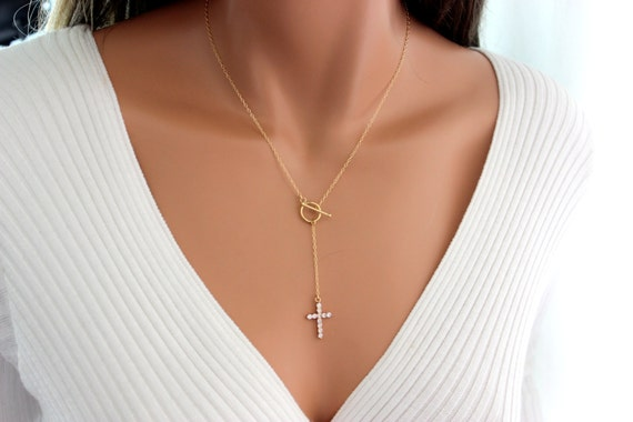 Crystal cross necklace women rosary y style gold filled aloadofball Images