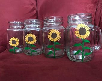 Growing Sunflowers Hand Painted Glasses