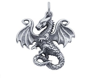 Sterling Silver Fairy Tale Dragon Charm