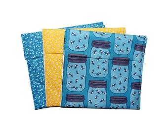Reusable Snack Bags, Zero Waste, Kids Snack Baggies, Sandwich Bag Set, Fold Top Bags, Firefly Pattern, Back to School, School Lunch Bags
