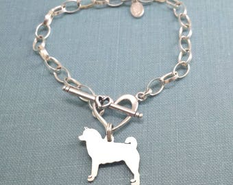 Akita Chain Bracelet, Sterling Silver Personalize Pendant, Breed Silhouette Charm, Rescue Shelter, Mothers Day Gift
