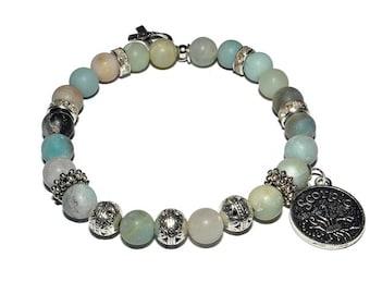 Zodiac Mala Bracelet - Amazonite - Stretch  Bracelet