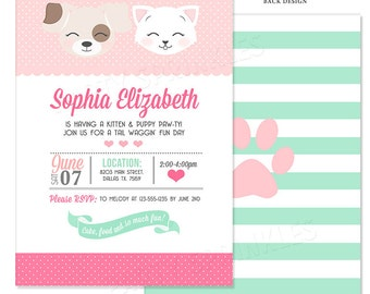 Pink and Mint Kitten & Puppy Birthday Party Invitation - Double Sided Printable Digital Design