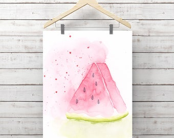Watermelon Watercolor Print - Fruit Art - Giclee Print - Original Painting by Angela Weber