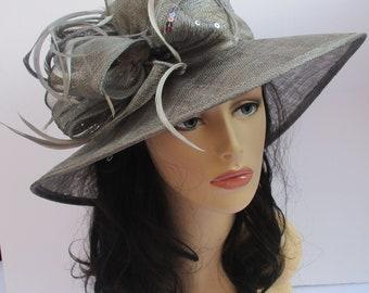 Gray/Silver Kentucky Derby Hat, Church Hat, Wedding Hat, Easter Hat, Tea Party Hat Wide Brim Woman's Sinamay  Hat