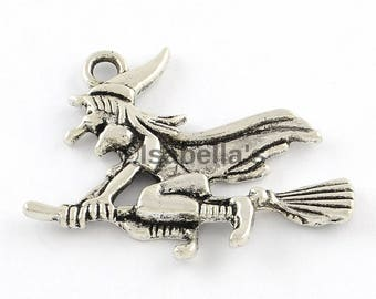 Witch pendants etsy 5 pcs witch pendants made of zinc alloy antique silver color aloadofball Image collections